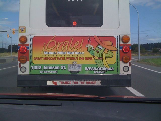 Racist Mexican ad on the back of the bus.