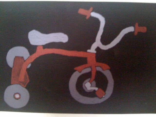 Tricycle painting, oil on canvas.