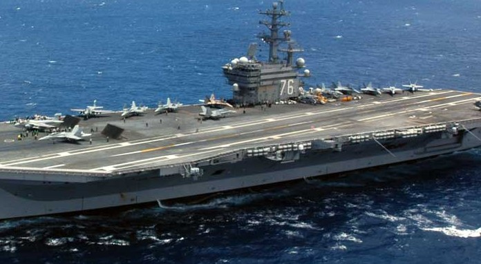 USS Ronald Reagan with jets on deck