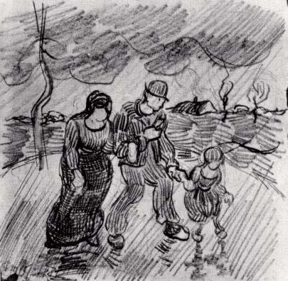 Couple Walking Arm in Arm with a Child in the Rain, 1890, Van Gogh