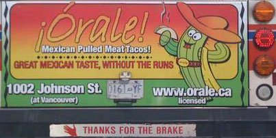 Picture of bus ad: great mexican taste without the runs