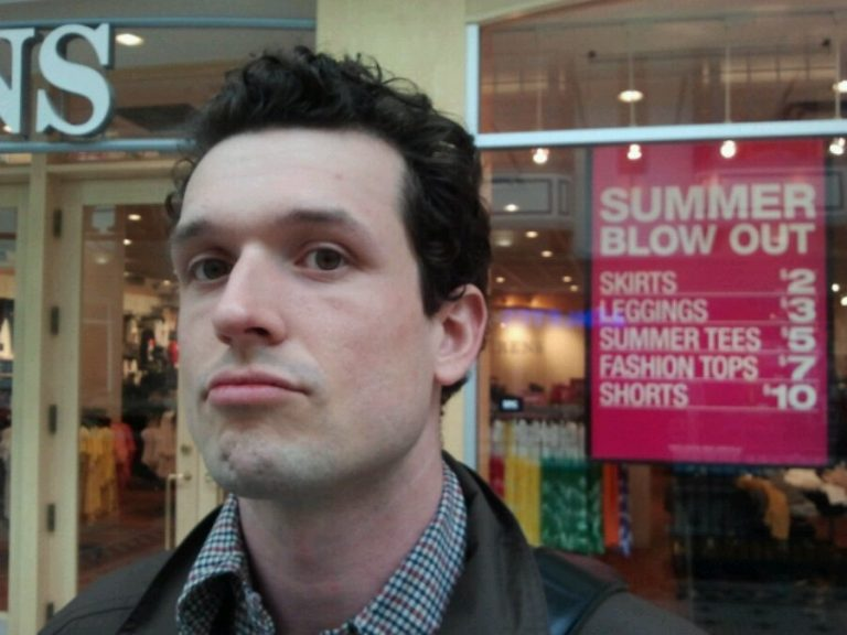 At the mall. Summertime.