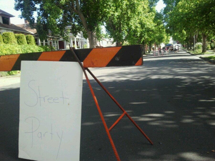 Neighbourhood street closure for street hockey in the summer.
