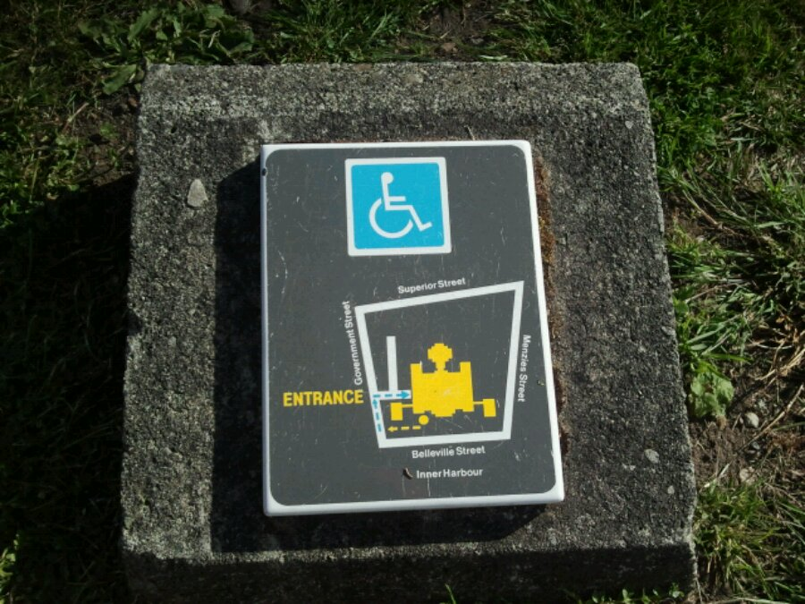 The BC legislature has a map of wheelchair access on a plaque on the lawn.