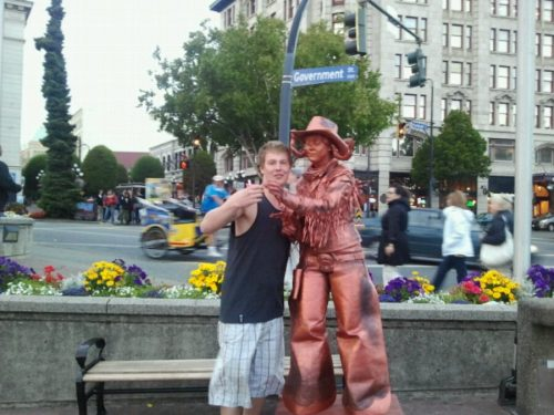 Ben Cory poses with the Copper Cow Girl