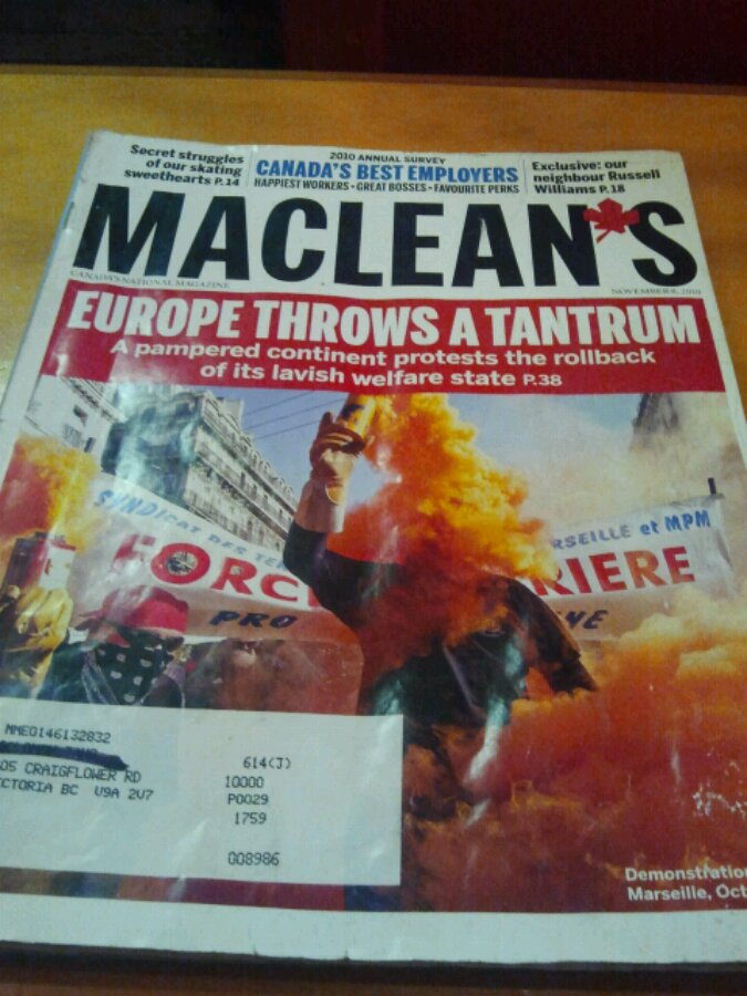 Cover of terrible Maclean's Magazine