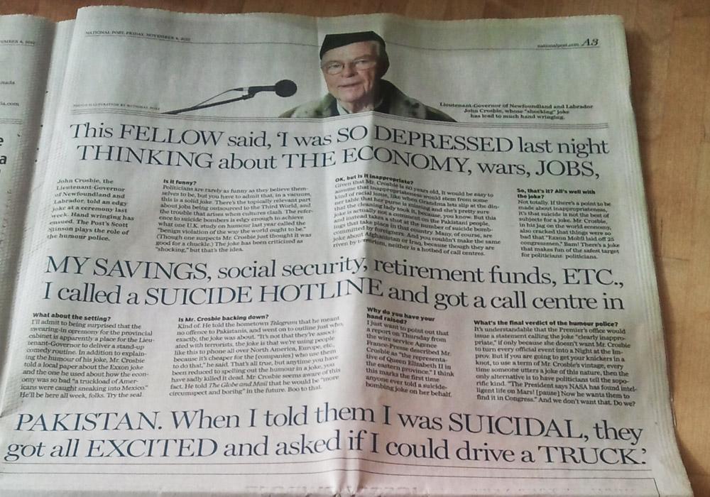 John Crosbie's racist joke featured in the National Post