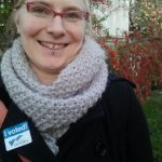 "Rebecca Cory with an ""I voted"" sticker on from the City of Victoria"