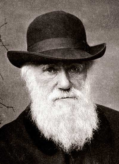 Charles Darwin in a hat