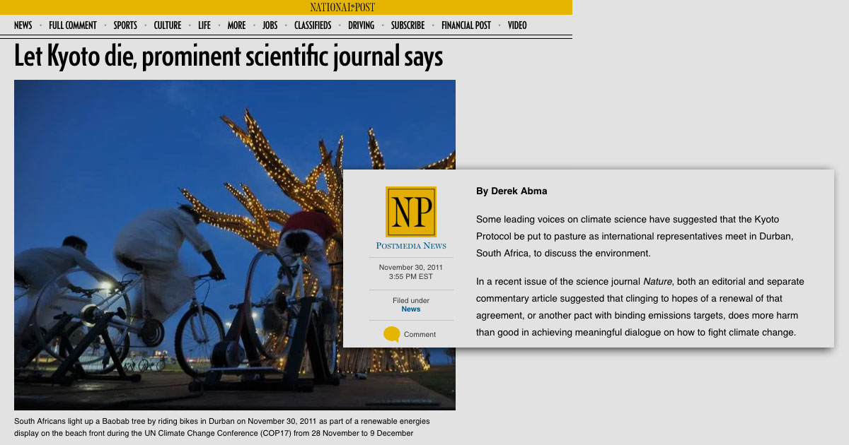 National Post on climate crisis obfiscation