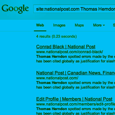 screenshot of the National Post spoofing Google