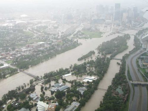 Arial photo of the Calgary flood by Becky Cory