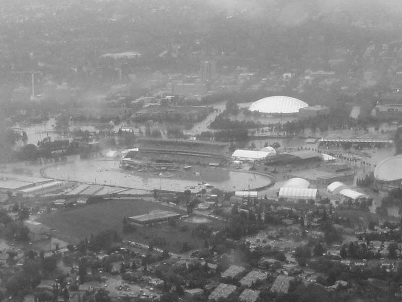 An aerial photo of Calgary, the Stampede grounds, flooded