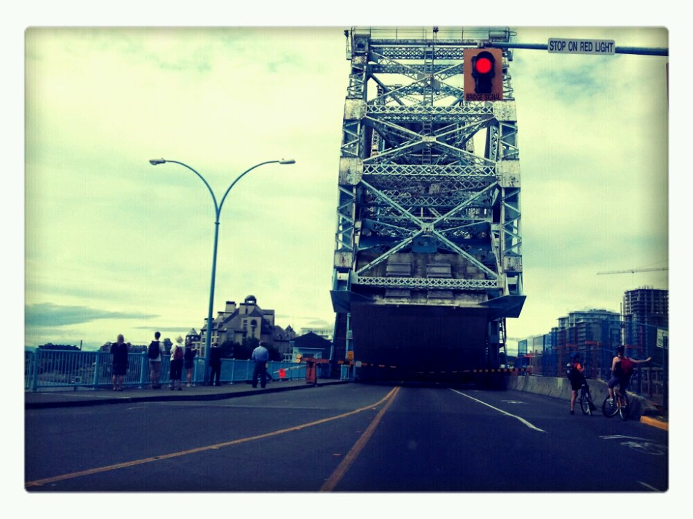The draw bridge is up in Victoria and we're waiting at a red light.