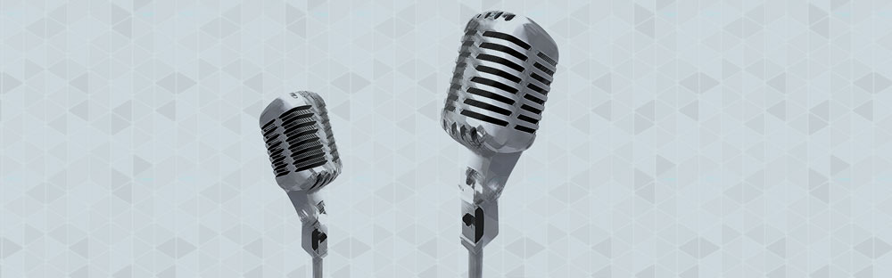Two quality microphones face each other in a pattern.