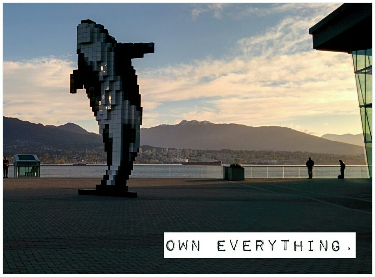"""A killer whale sculpture, with """"own everything"""" written cynically in the fore ground"""