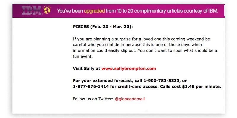 IBM advertisement at the Globe and Mail on a horoscopes page, with a phone number for Sally Brompton