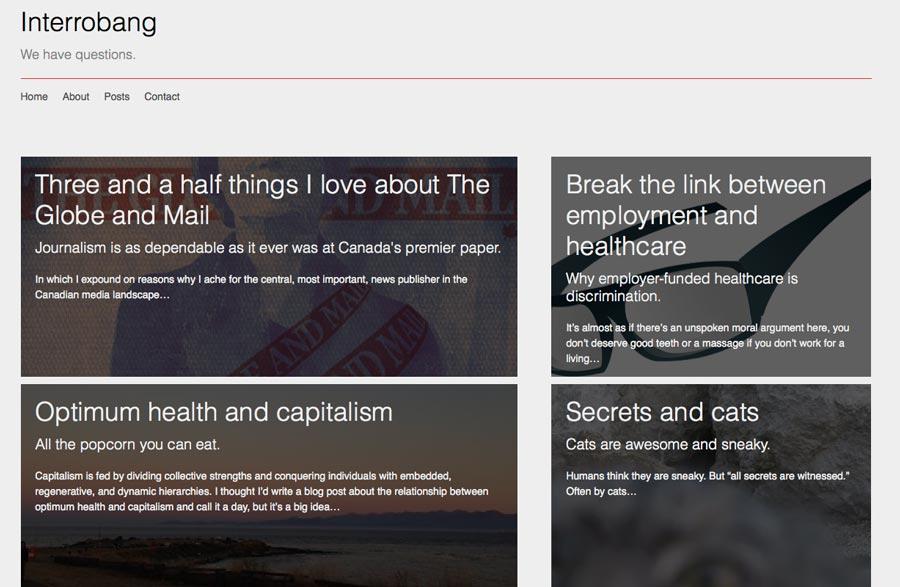 A home page screenshot of Interrobang the group blog