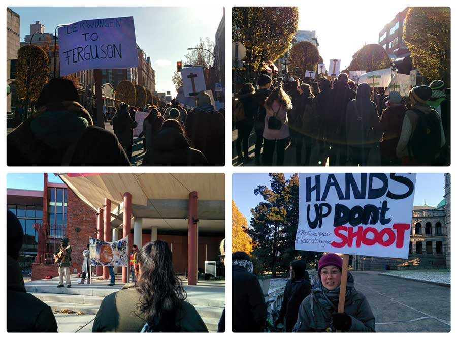 Images from the demonstration in Victoria for the injustices to Michael Brown and others
