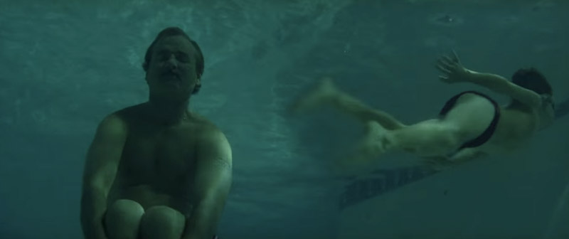 Herman Blume sinks to the bottom of the pool, in the movie, Rushmore
