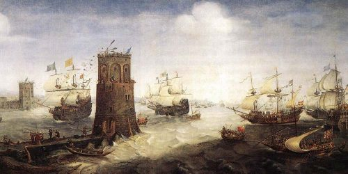 The Christians storm the beach during the crusades and capture a city of Muslims