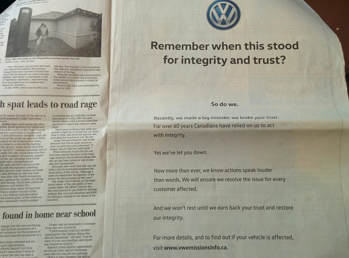 Remember with Volkswagen stood for integrity and trust?