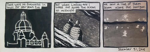"Dean's comic: ""but when Lindsay and I looked out across the ocean at midnight..."""