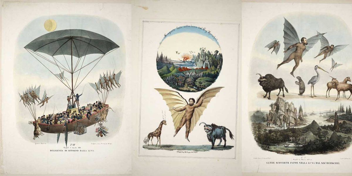 Panels of illustrations from the Great Moon Hoax of 1835.
