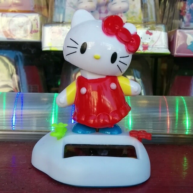 Hello Kitty frozen, ready to move, in the window in Chinatown.
