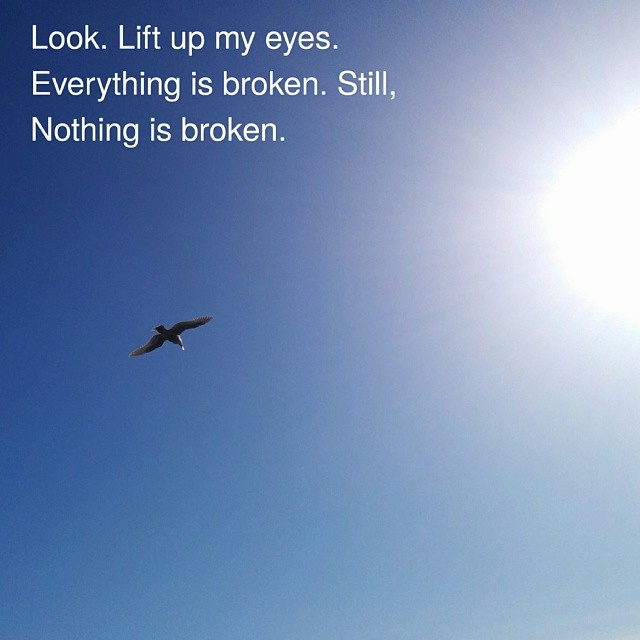 """Look. Lift up my eyes.Everything is broken. Still,Nothing is broken."