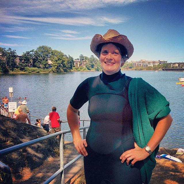 Our Mayor, Lisa Helps, preparing for a swim in the Gorge