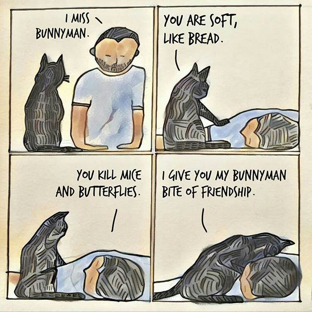 A cartoon about cats, sociopaths, and killing butterfiles