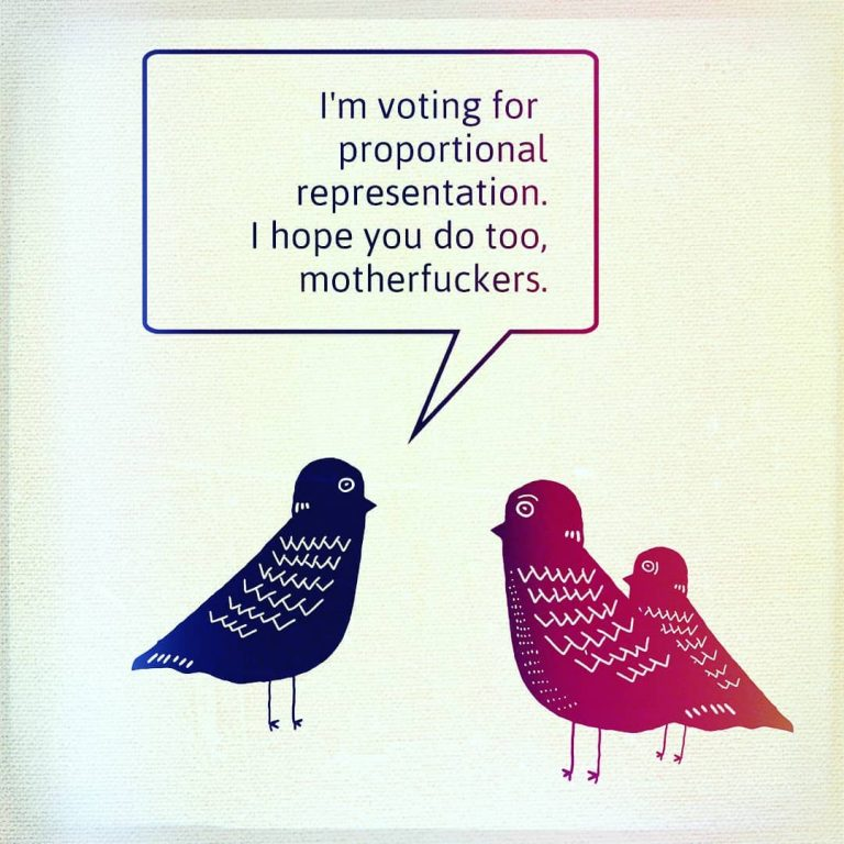 I'm voting for proportional representation