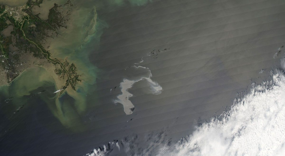Gulf of Mexico, areal view of oil spill.
