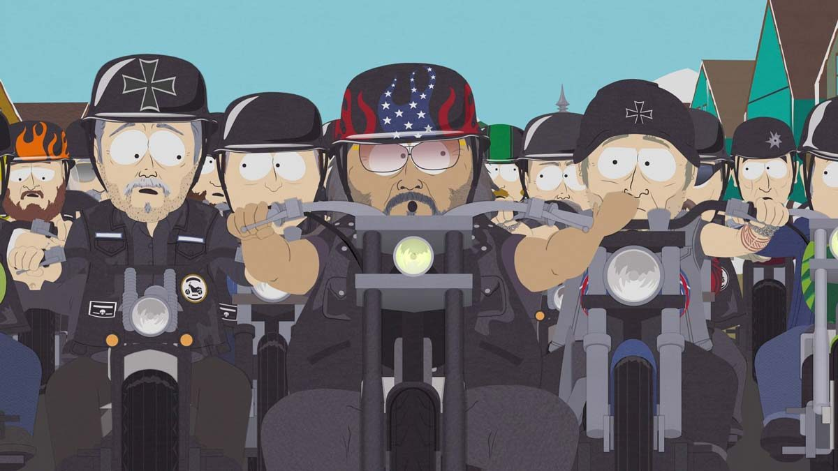 Southpark illustration of bigots and assholes riding large motorcycles that are unnecessarily loud.