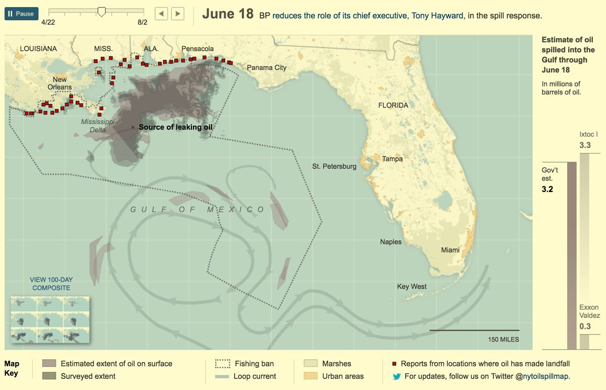 A screenshot of the NYT spill tracker from June 18.