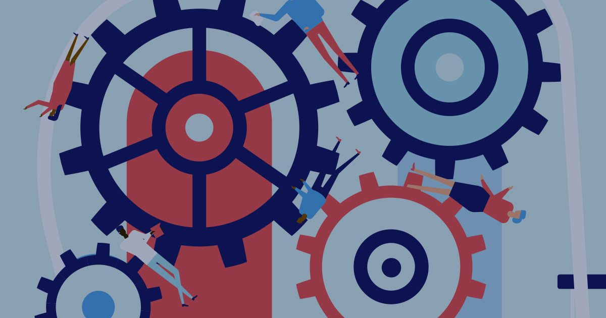 Giant cogs drawn in blue and corral with small bodies ground between the gears.