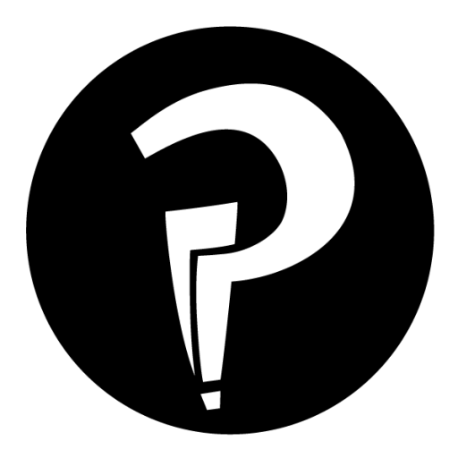 An interrobang in black and white, a logo for Interrobang online.