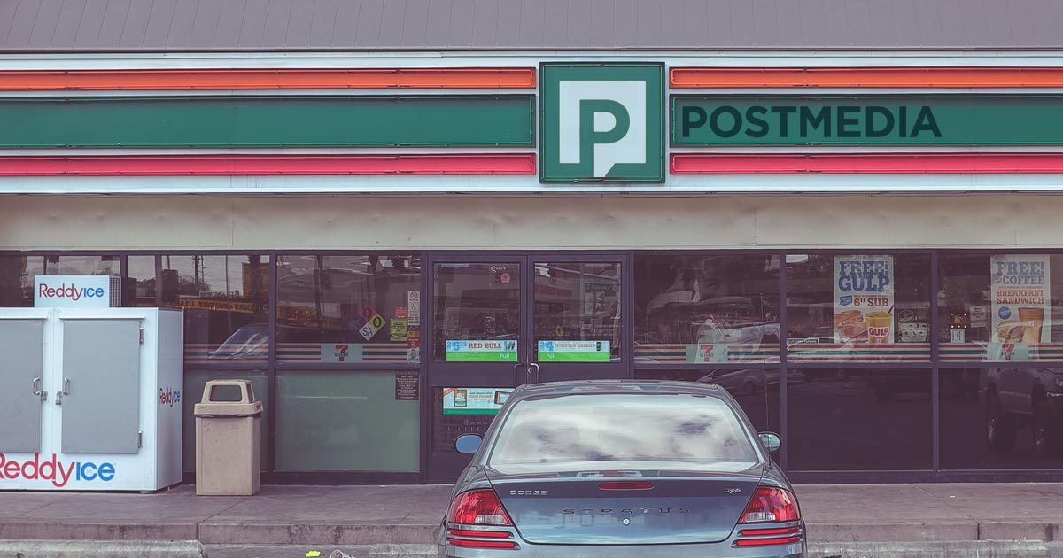A corner store, branded in the 7-11 colours, says Postmedia on the sign.