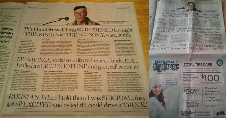 National Post amplifies racism by the Lieutenant Governor General of Newfoundland and Labrador, John Crosbie