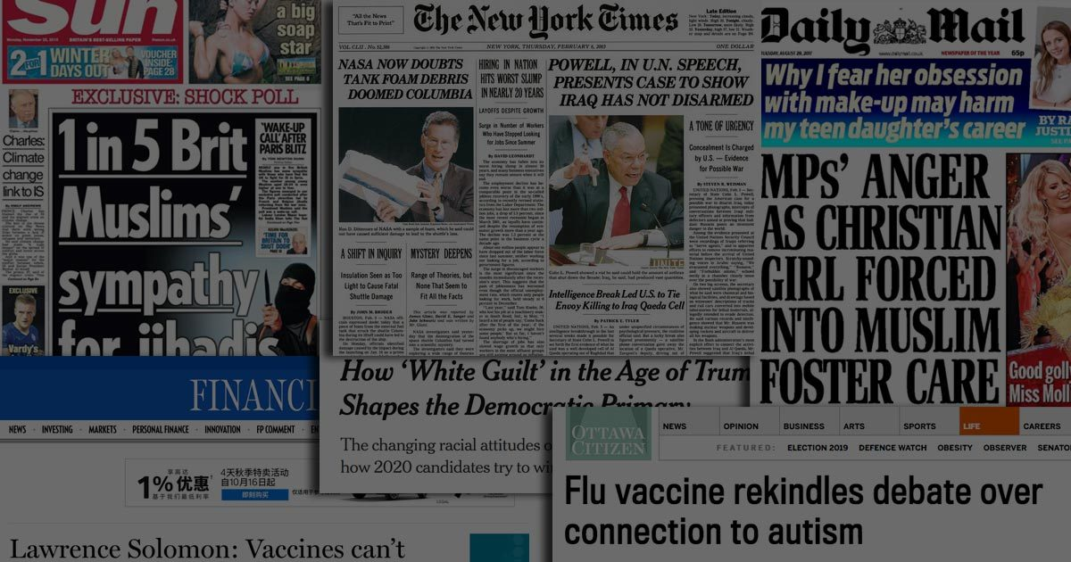 A series of headlines full of misinformation from a variety of news organizations.