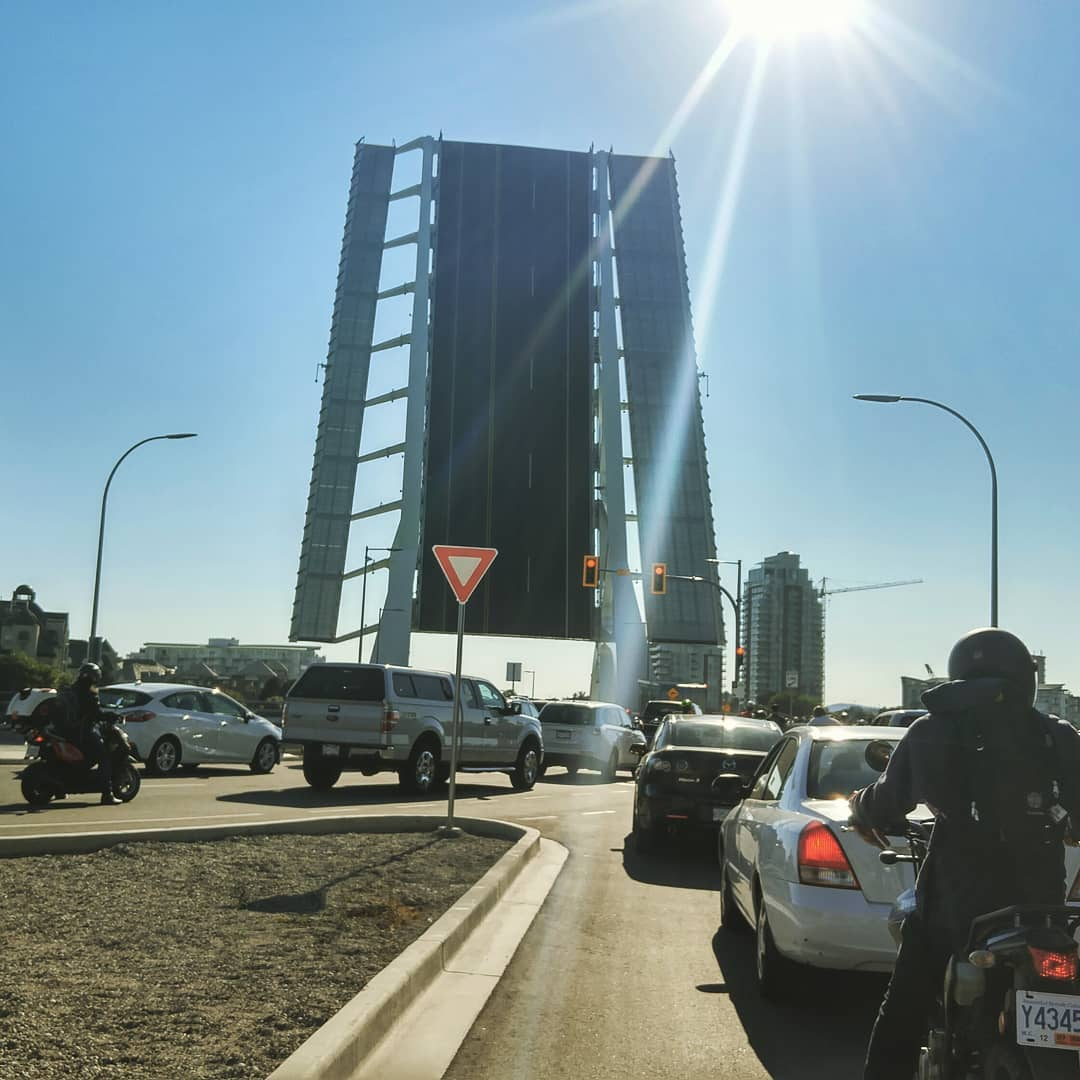 The view of the Victoria Blue Bridge up while stuck in traffic.