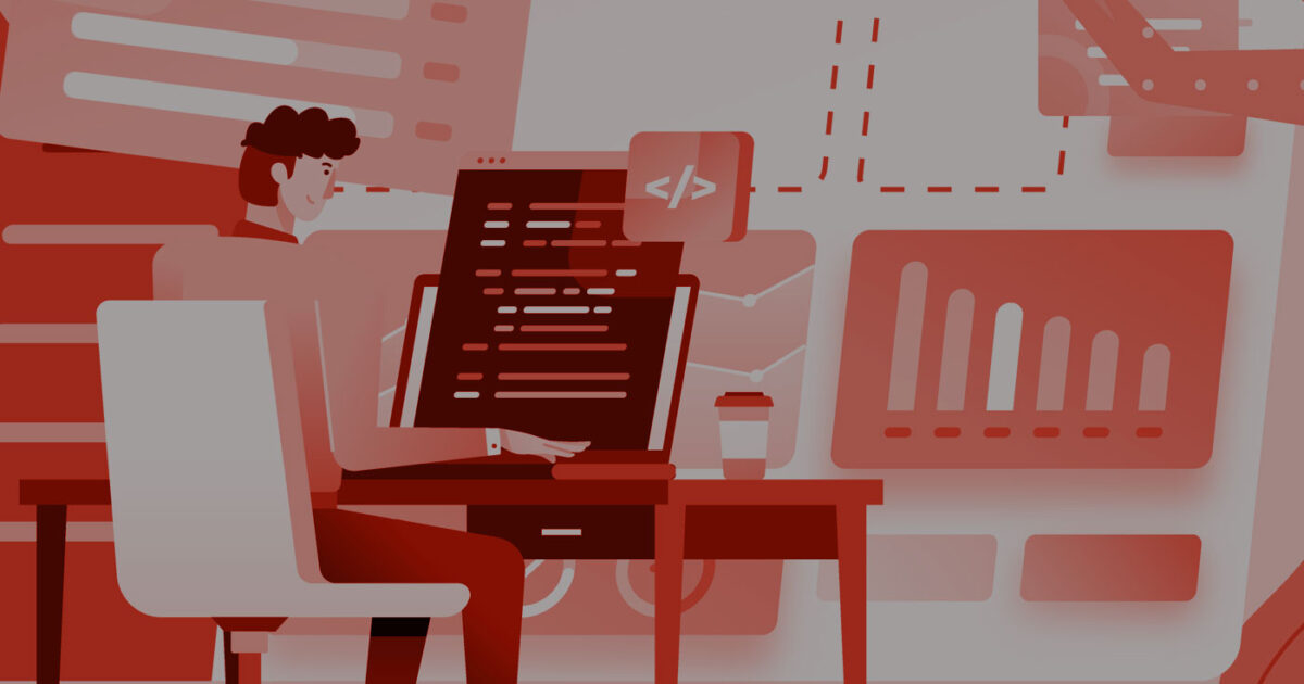 Illustration of a person at their desk writing code and hyperlinks for the news industry.